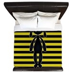 Goth Yellow and Black Bunny King Duvet