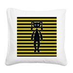 Goth Yellow and Black Bunny Square Canvas Pillow
