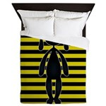 Goth Yellow and Black Bunny Queen Duvet