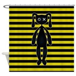 Goth Yellow and Black Bunny Shower Curtain
