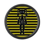 Goth Yellow and Black Bunny Large Wall Clock