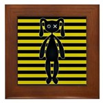 Goth Yellow and Black Bunny Framed Tile
