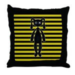 Goth Yellow and Black Bunny Throw Pillow