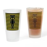 Goth Yellow and Black Bunny Drinking Glass
