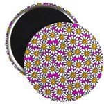 Smiley Pink Daisy Flowers Magnet