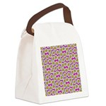Smiley Pink Daisy Flowers Canvas Lunch Bag