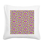 Smiley Pink Daisy Flowers Square Canvas Pillow