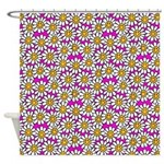 Smiley Pink Daisy Flowers Shower Curtain
