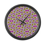 Smiley Pink Daisy Flowers Large Wall Clock