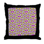 Smiley Pink Daisy Flowers Throw Pillow