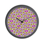 Smiley Pink Daisy Flowers Wall Clock