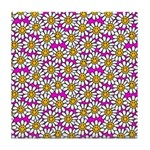 Smiley Pink Daisy Flowers Tile Coaster