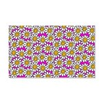 Smiley Pink Daisy Flowers Wall Decal
