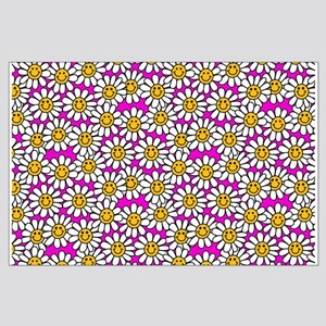 Smiley Pink Daisy Flowers Posters