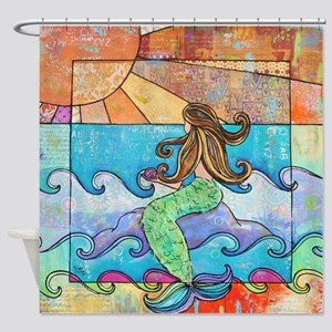 Sunset Mermaid Beach Ocean Shower Curtain