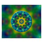 Rainbow Mandala Fractal Art King Duvet