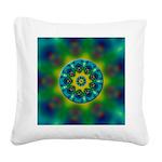 Rainbow Mandala Fractal Art Square Canvas Pillow