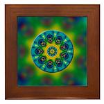 Rainbow Mandala Fractal Art Framed Tile