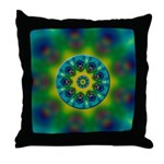 Rainbow Mandala Fractal Art Throw Pillow