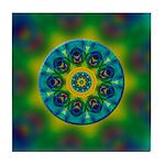 Rainbow Mandala Fractal Art Tile Coaster