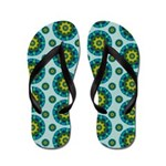 Turquoise Retro Mandala Flip Flops