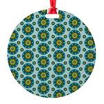 Turquoise Retro Mandala Ornament