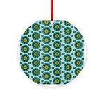 Turquoise Retro Mandala Ornament (Round)