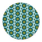 Turquoise Retro Mandala Round Car Magnet