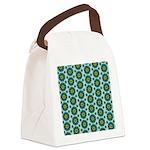 Turquoise Retro Mandala Canvas Lunch Bag