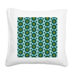 Turquoise Retro Mandala Square Canvas Pillow