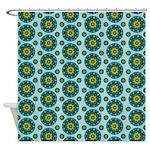 Turquoise Retro Mandala Shower Curtain