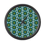 Turquoise Retro Mandala Large Wall Clock