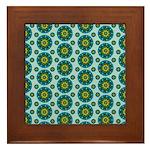 Turquoise Retro Mandala Framed Tile