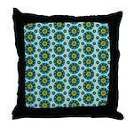 Turquoise Retro Mandala Throw Pillow
