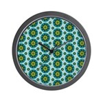 Turquoise Retro Mandala Wall Clock