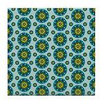Turquoise Retro Mandala Tile Coaster
