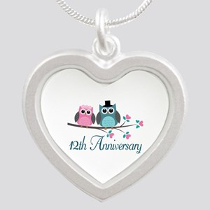 12th Wedding Anniversary Gift Silver Heart Necklac