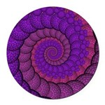 Purple and Pink Fractal Round Car Magnet