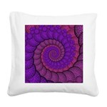 Purple and Pink Fractal Square Canvas Pillow