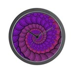 Purple and Pink Fractal Wall Clock