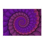 Purple and Pink Fractal 5'x7'Area Rug