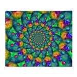 Rainbow Turquoise Fractal Throw Blanket