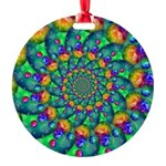 Rainbow Turquoise Fractal Ornament