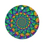 Rainbow Turquoise Fractal Ornament (Round)