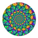 Rainbow Turquoise Fractal Round Car Magnet
