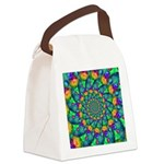 Rainbow Turquoise Fractal Canvas Lunch Bag
