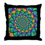 Rainbow Turquoise Fractal Throw Pillow