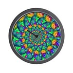 Rainbow Turquoise Fractal Wall Clock