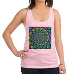 Rainbow Turquoise Fractal Racerback Tank Top