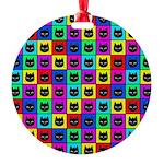 Rainbow Square Cat Pattern Ornament